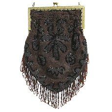 Hand Bag or Purse Beaded Purse Art Nouveau Made in Belgium