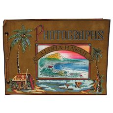 Photo Album Leather Cover Hand Painted   Hawaii Souvenir