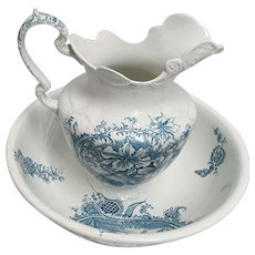 Chamber Pitcher and Basin Blue and White Transferware by Myott & Co.