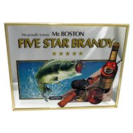 Advertising Sign Mr. Boston 5 Star Brandy Fishing Theme