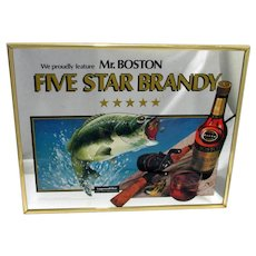 SOLD   See other signs ON  SALE  Advertising Sign Mr. Boston 5 Star Brandy Fishing Theme