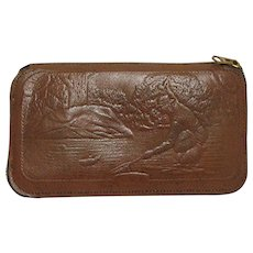 Tooled Leather Fly Fishing Wallet with Fishing Scenes