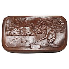Hard Case Leather Fly Wallet with Fishing Scenes