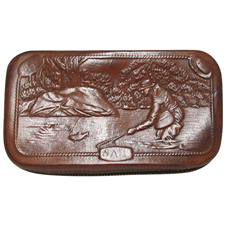 773de843aea SOLD See other Fly Wallets ON SALE Hard Case Leather Fly Wallet with Fishing  Scenes