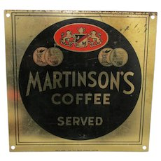 Martinson's Coffee Metal Advertising Sign