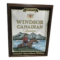 Large Windsor Canadian Wiskey (Whiskey) Framed Mirror Back Advertising Sign