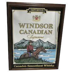 Large Windsor Canadian Wiskey (Whiskey) Framed Mirror Back Advertising Sign