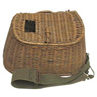 Hand Woven Wicker Fly Fishing Creel with Shoulder Harness