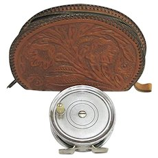 Fly Fishing Reel Case Tooled Leather