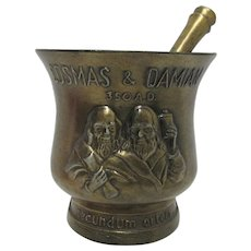 Mortar and Pestle Cosmas and Damian Matched Set by Schering