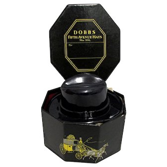 Miniature Dobbs Hat Box with Replica Fedora