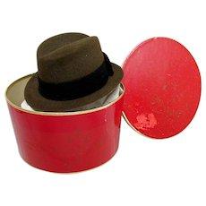 Stetson Miniature Hat Box with  Sample Fedora