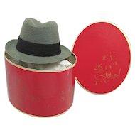 Miniature Stetson Hat Box with Grey Fedora