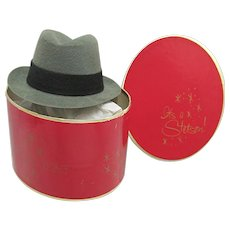 SOLD   Only 3 Left   Miniature Stetson Hat Box with Grey Fedora