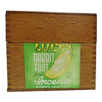 Advertising Box With Oak Dovetailed Box Is for Lucky Rabbit Foot Incense a Valmor Product