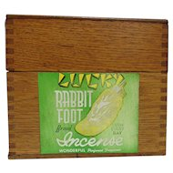 Oak Dovetailed Advertising Box for Lucky Rabbit Foot Incense a Valmor Product