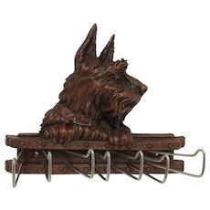 Scottie Dog Tie, Belt or Scarf Rack Syroco Wood