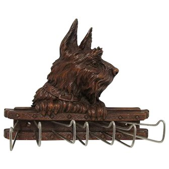 Scottie Dog Tie, Belt or Scarf Rack Syroco Wood