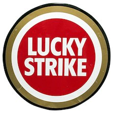 "50% Off Sale 27"" Diameter Lucky Strike Cigarette Metal Advertising Sign"