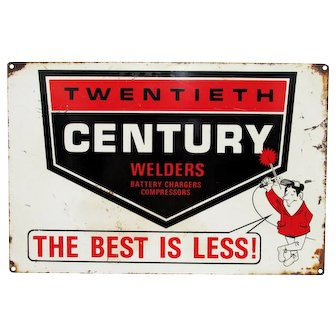 "Twentieth Century Welders Advertising  Sign Metal 18"" by 12"""