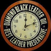 Diamond Black Leather Oil Advertising Wall Clock