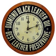 Diamond Black Leather Oil Advertising Wall Clock