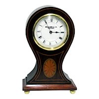 Antique Mantel Clock  Inlaid French Balloon Mantle Clock Runs Keeps Time