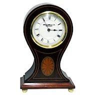 Inlaid French Balloon Clock Runs Keeps Time