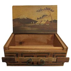 Wood Puzzle Box Inlay Scene Decoration