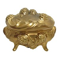 Jewelry Casket or Trinket Box Gold Gilt Exceptional Original Condition