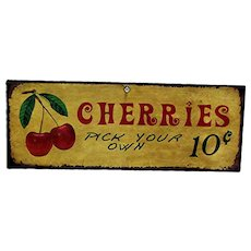 Advertising Metal Farm Stand Sign CHERRIES