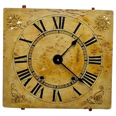 Wood Clock Dial G. Marsh 1830 Keeps Time