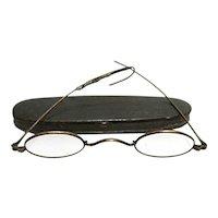 Antique Civil War Era Tin Case with Spectacles by C. Parker Meriden Ct.