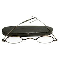 Civil War Era Tin Case with Spectacles by C. Parker Meriden Ct.