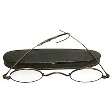 Tin Case with Spectacles by C. Parker Meriden Ct. Civil War Era