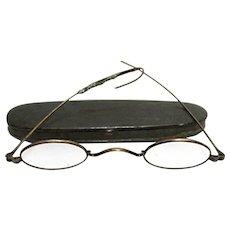 Civil War Era Tin Case with Spectacles by C. Parker Meriden Ct.