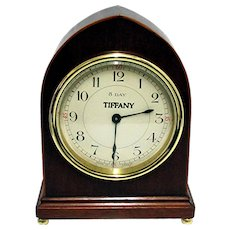 Solid Walnut Inlaid Tiffany Mantel Clock