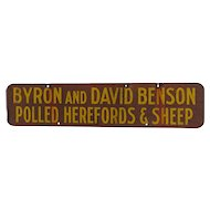 Benson Advertising Metal Farm Sign