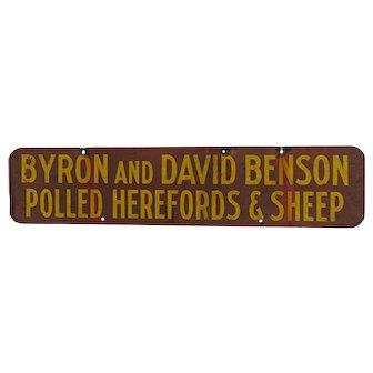 Benson Advertising Metal Farm Sign