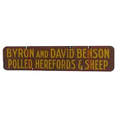 Metal Farm Advertising Sign For Benson Polled Herefords and Sheep