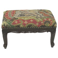 French Footstool Needlepoint Covered Foot Stool
