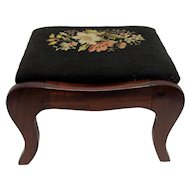Foot Stool Mahogany Footstool with Needlepoint Covering