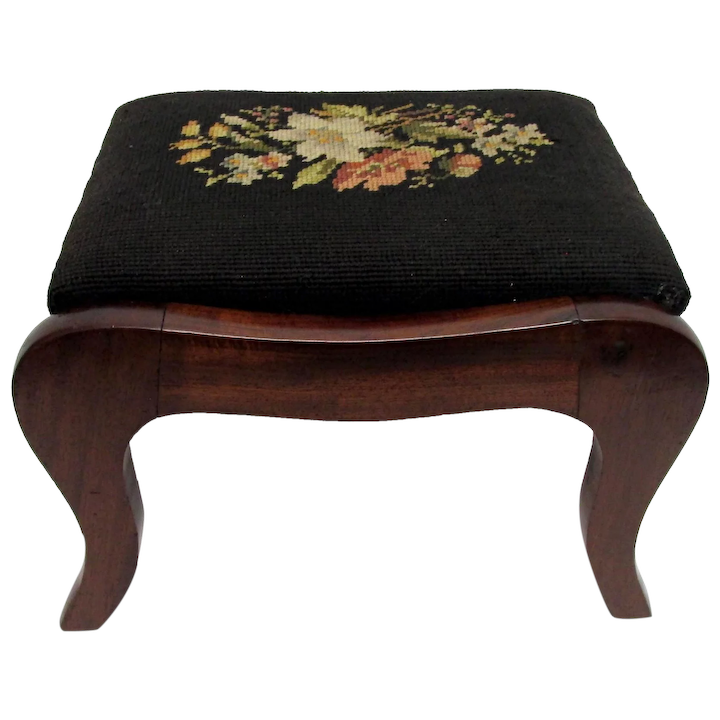 Marvelous Foot Stool Mahogany Footstool With Needlepoint Covering Machost Co Dining Chair Design Ideas Machostcouk