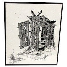 Advertising Print Outhouse Black and White Inked Print by Fred Rowe