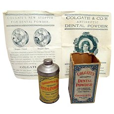 Colgate & Co.'s Original Box Pamphlet and Sample  Tin with Contents