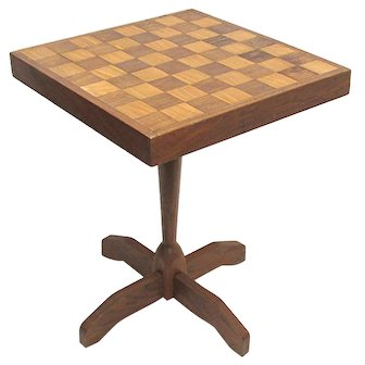 Game Table For Checkers Or Chess Solid Walnut