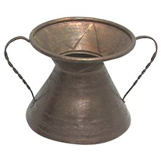 Spittoon Copper  Hammered Spitoon with Double Handles
