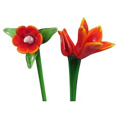 Long Stem PAIR  of Glass Flowers