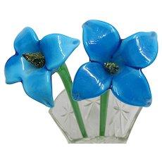 Glass Flowers PAIR of Single Flower  Long Stem