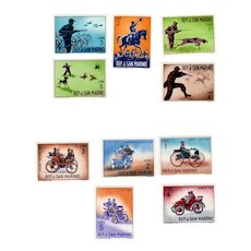 San Marino 1962 Postage Stamps Hunting Series and Ancient Automobiles  MINT